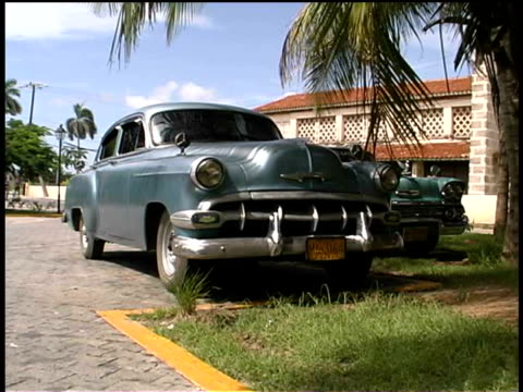 ms, vintage car, varadero, cuba  - fan palm tree stock videos & royalty-free footage