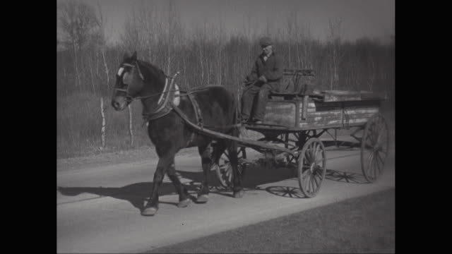 vidéos et rushes de ms vintage cars and horsedrawn carriage passing on street / united states - voiture attelée