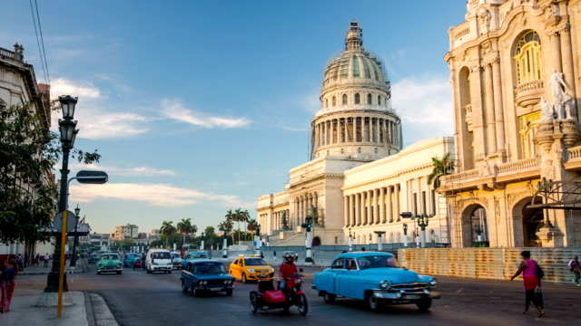 vintage cars in front of capitolio in havana cuba - cuba stock videos & royalty-free footage