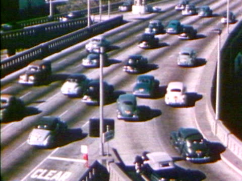 vintage cars on a busy highway - collector's car stock videos and b-roll footage