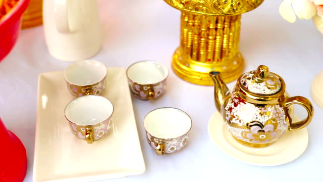 vintage chinese tea set, ceramic teapot and cups. - chinese tea set stock videos and b-roll footage