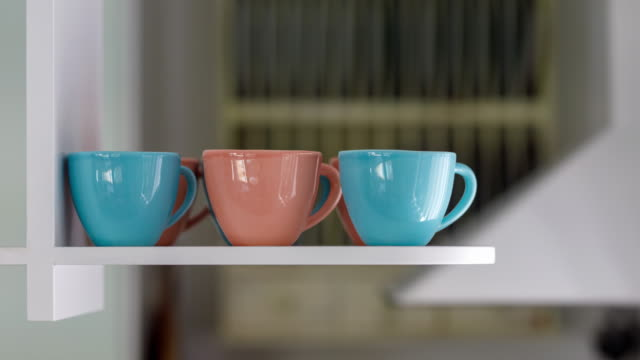 vintage coffee cups - home decor - kitchen worktop stock videos & royalty-free footage