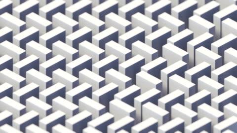 白いアイソメトリックの動きパターンとヴィンテージカバーデザイン。3d レンダリングデジタルシームレスループアニメーション。4k、ウルトラhd解像度 - 投影図点の映像素材/bロール