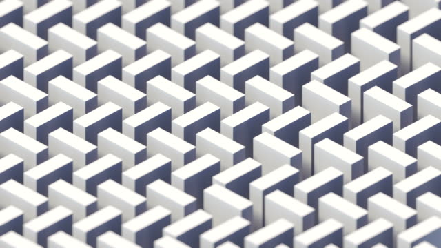 vintage cover design with white isometric moving pattern. 3d rendering digital seamless loop animation. 4k, ultra hd resolution - cube stock videos & royalty-free footage