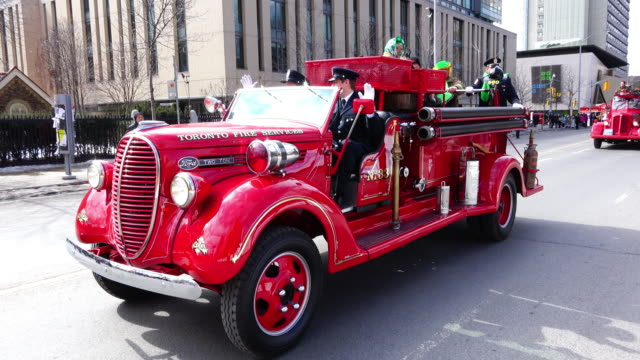 vintage firetruck partaking in the celebration the event is also known as the feast of saint patrick is a cultural and religious celebration around... - religious saint stock videos and b-roll footage