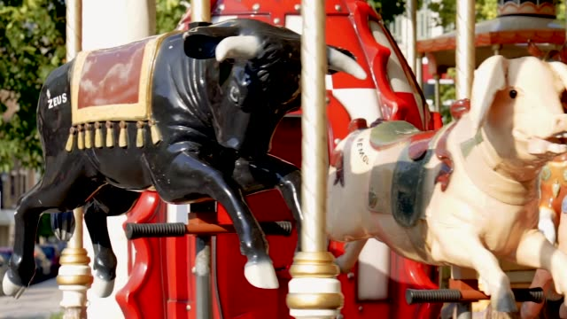 vintage french carousel - roundabout stock videos and b-roll footage