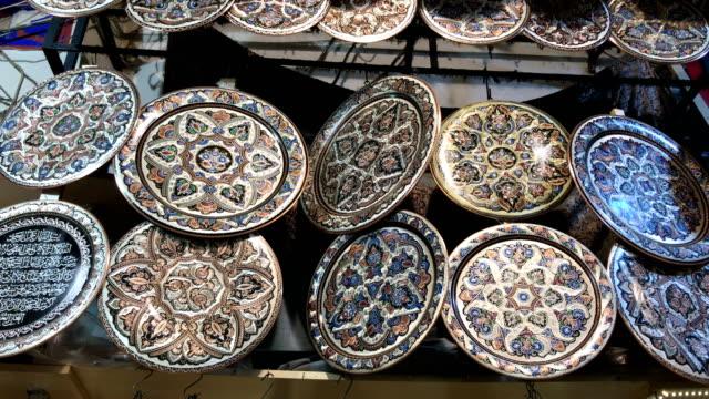 Vintage handmade metal trays at grand Bazaar in Istanbul