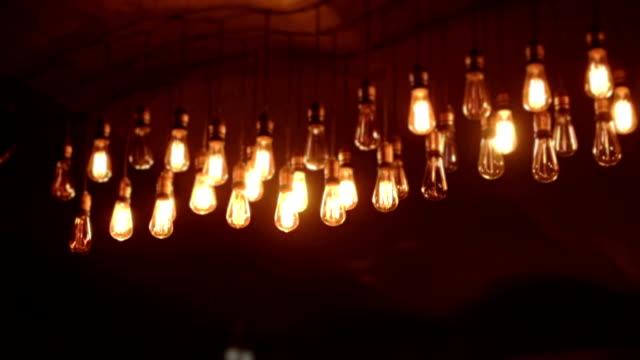 Vintage light bulbs at night