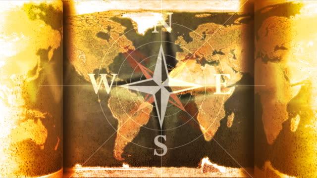vídeos de stock e filmes b-roll de vintage mapa compas - mapa múndi