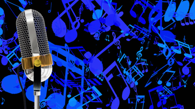Vintage microphone on microphone stand with cascading blue music symbols save with alpha channel
