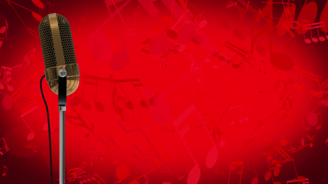 Vintage microphone on microphone stand with cascading red music symbols on a red background
