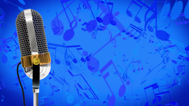 Vintage microphone on microphone stand with cascading red music symbols save with alpha channel on a blue background