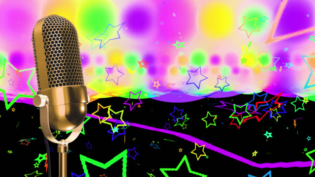 Vintage microphone on microphone stand with glowing circles and stars saved with alpha channel
