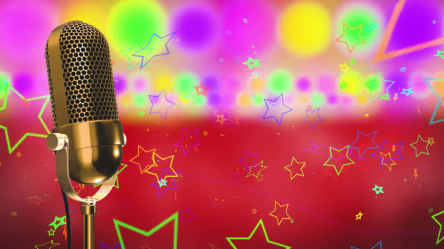 Vintage microphone on microphone stand with glowing circles and stars on a red background