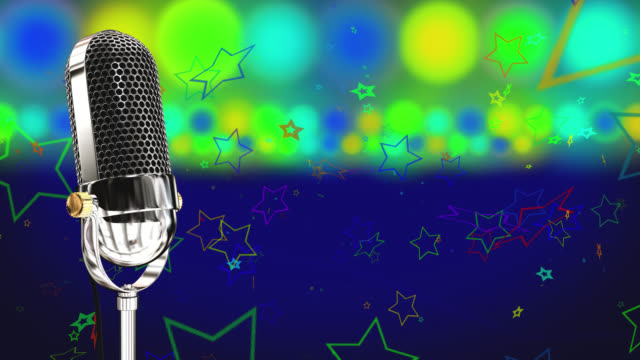 Vintage microphone on microphone stand with glowing circles and stars on a blue background
