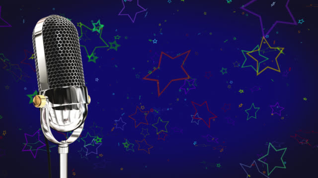 Vintage microphone on microphone stand with stars on a blue background