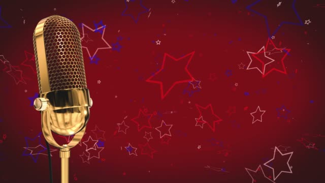 Vintage microphone on microphone stand with stars on a red background