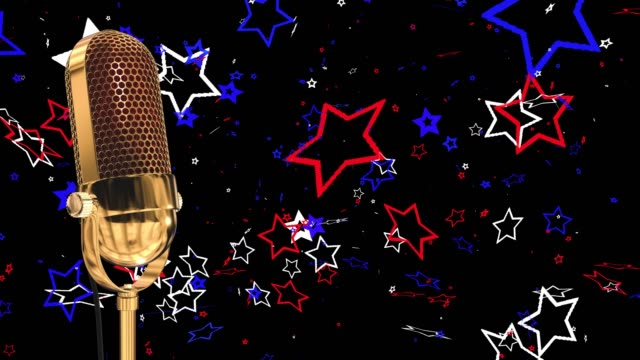 Vintage microphone on microphone stand with stars saved with alpha channel