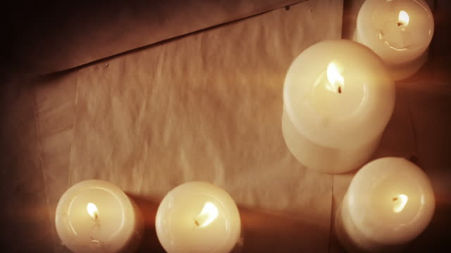 vintage paper and candles - candlelight stock videos & royalty-free footage
