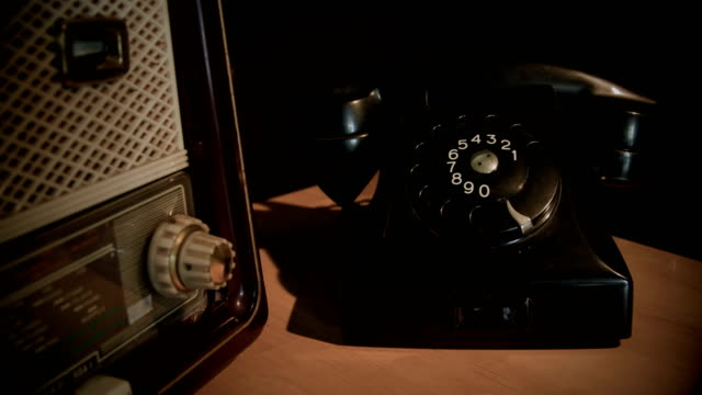 vintage radio and phone - radio broadcasting stock videos and b-roll footage