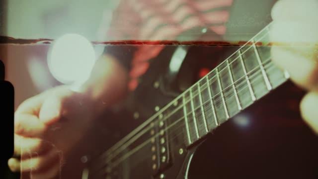 vintage rock guitarist playing guitar - rocking stock videos & royalty-free footage