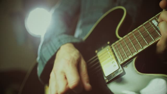 vintage rock series: guitar player - recording studio stock videos & royalty-free footage