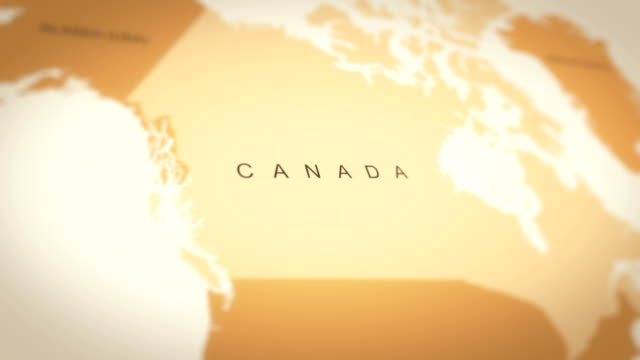 4k vintage sepia colored world map, zoom in to asia animation (canada) - canada video stock e b–roll