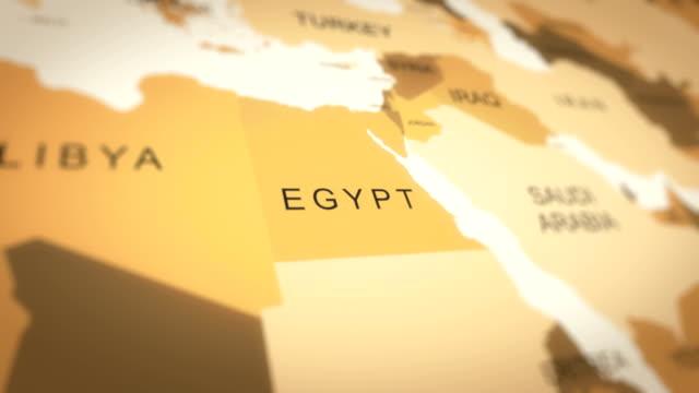 4kヴィンテージセピア色の世界地図、アジアアニメーションにズームイン(エジプト) - 地理的地域 国点の映像素材/bロール