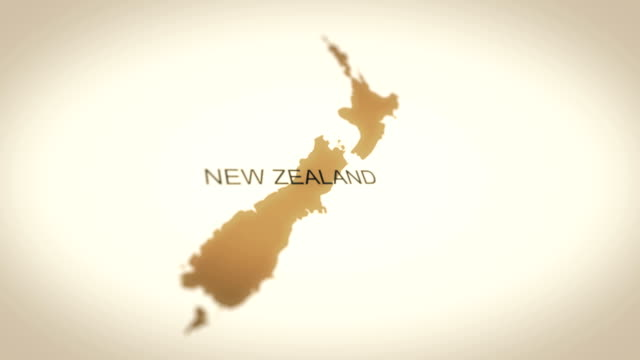 4k vintage sepia colored world map, zoom in to asia animation (new zeland) - new zealand stock videos & royalty-free footage