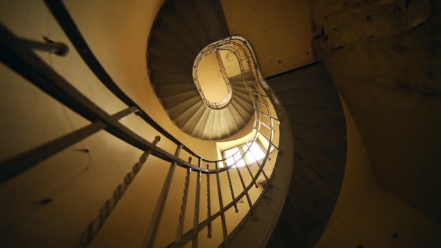 vintage spiral staircase - staircase stock videos and b-roll footage