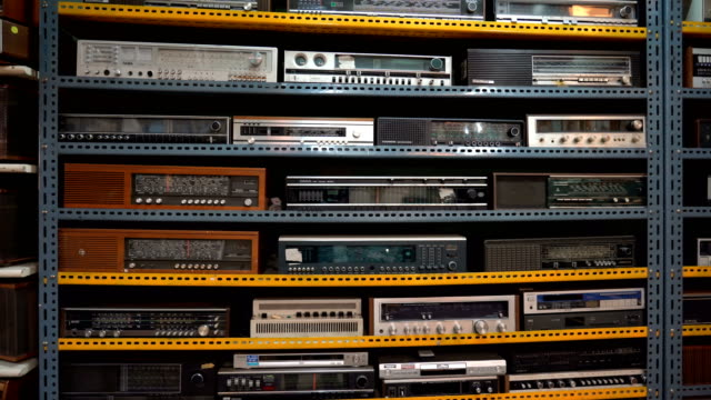 vintage stereo cassette tape deck recorder on the dark - portability stock videos & royalty-free footage