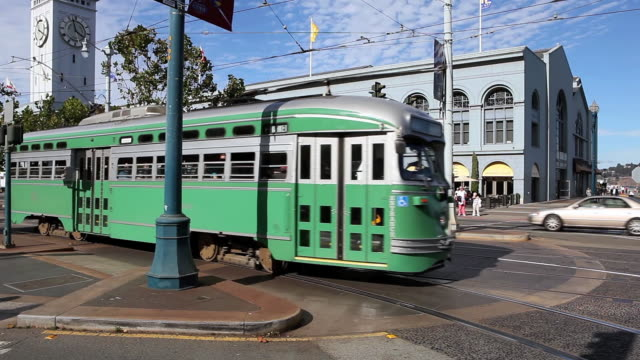 ws vintage street car moving on road in city  / san francisco, california, united states - sedan stock videos & royalty-free footage