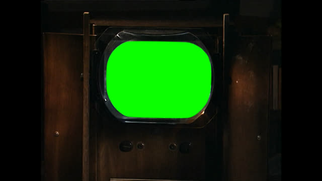 cu of vintage television set with green screen - broadcasting stock videos & royalty-free footage