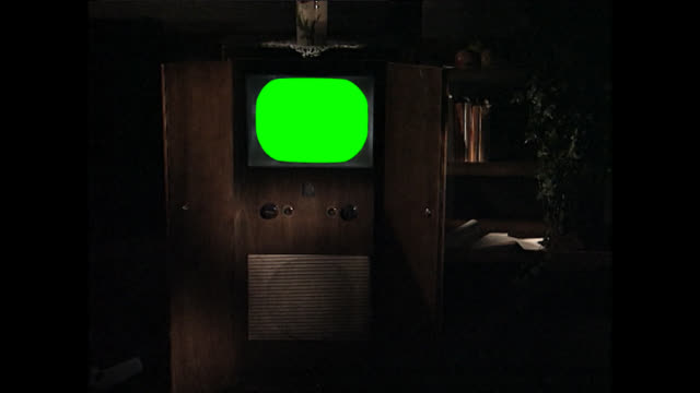 ms of vintage television set with green screen - chroma key stock videos & royalty-free footage