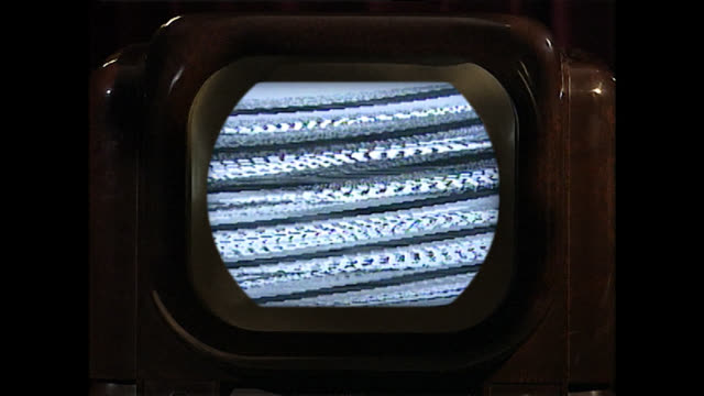 cu of vintage television set with static noise on screen - broadcasting stock videos & royalty-free footage