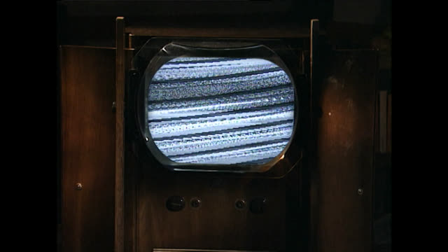cu of vintage television set with static noise - television static stock videos & royalty-free footage