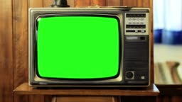 Vintage Television With Green Screen. Zoom Shot.