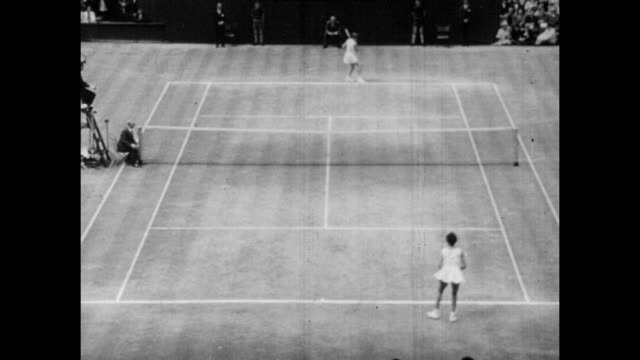 Vintage tennis action featuring the Wimbledon ladies singles final between Maria Bueno of Brazil and Margaret Smith of Australia played on Centre...
