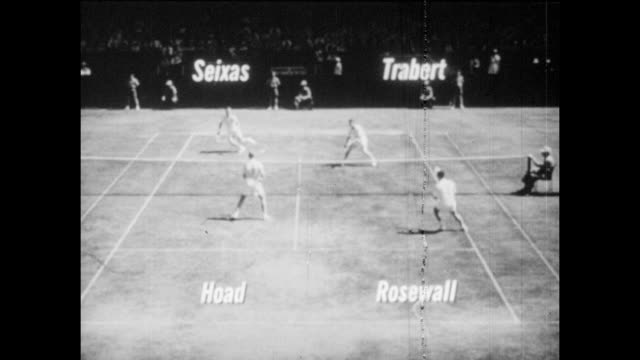Vintage tennis featuring a doubles match involving Vic Seixas Tony Trabert Lew Hoad and Ken Rosewall circa 1950