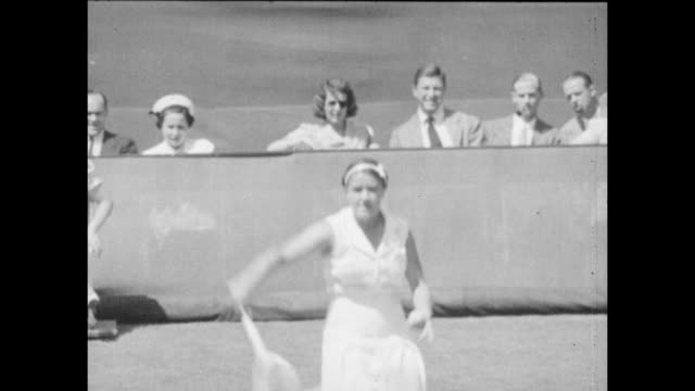 Vintage tennis featuring Alice Marble of the United States in action against Jadwiga Jędrzejowska of Poland in the Final of the Eastern Grass Court...