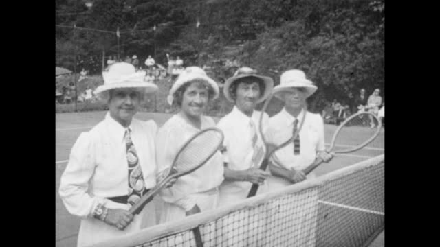 Vintage tennis featuring American tennis Champion May Sutton playing an exhibition Doubles match with her three sisters Ethel Violet and Florence...
