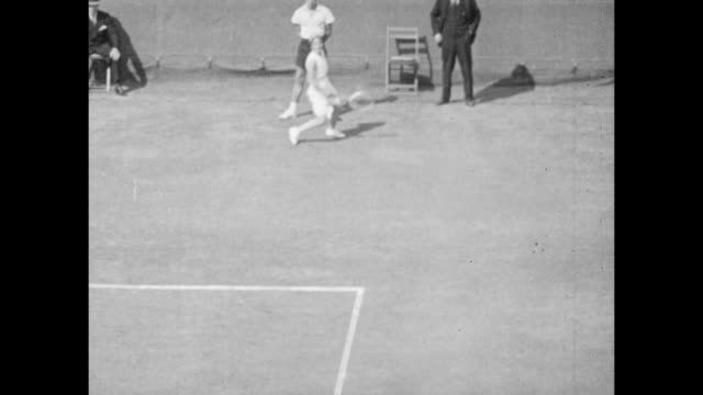 Vintage tennis featuring Jadwiga Jędrzejowska of Poland and Anita Lizana of Chile competing in the Final of the US Tennis Championships at the...
