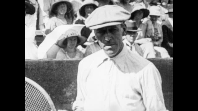 vintage tennis featuring norman brookes of australia in davis cup action at the westside tennis club in forest hills long island usa 14th august 1914 - 1910 stock videos and b-roll footage