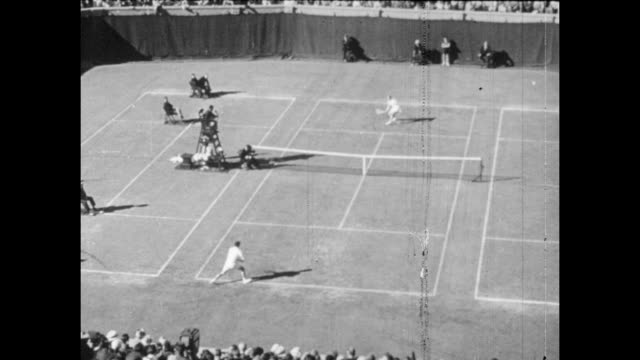 Vintage tennis featuring the mens singles final of the US Championships between Ken Rosewall and Lew Hoad at the Westside Tennis Club in Forest Hills...