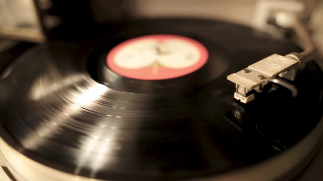 vintage turntable rotating vinyl record, a stylus with a needle - disk stock videos and b-roll footage