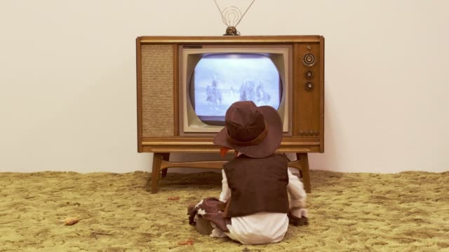 vintage tv and little boy cowboy - old fashioned stock videos & royalty-free footage