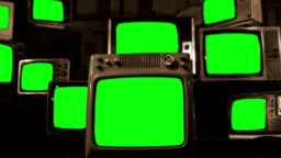 Vintage TVs Green Screen. Sepia Tone.