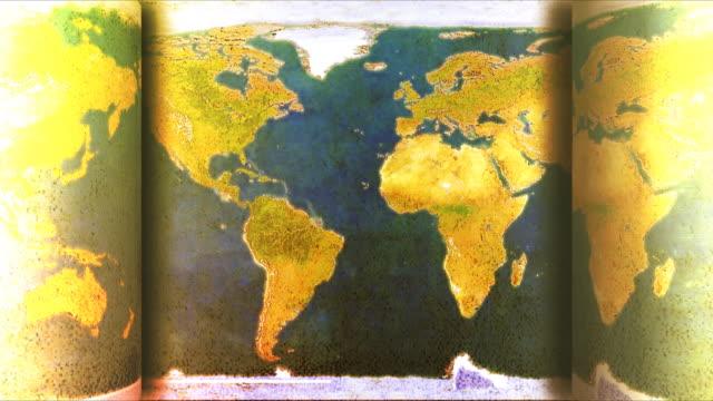 vídeos de stock e filmes b-roll de vintage mapa do mundo animação - mapa múndi