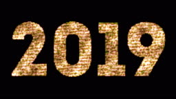 vintage yellow gold sparkly glitter lights and glowing effect simulating leds happy new year 2019 word text on black background with alpha channel, concept of golden holiday