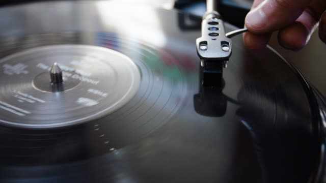 vinyl record closeup - 4k - deck stock videos & royalty-free footage